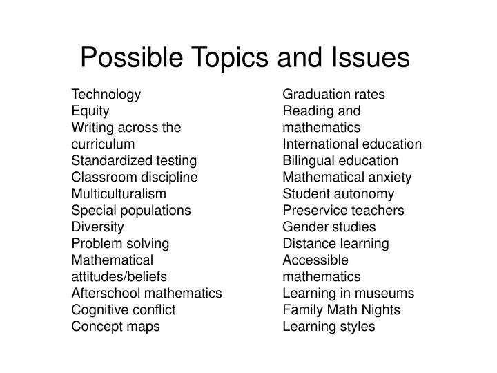 Possible Topics and Issues