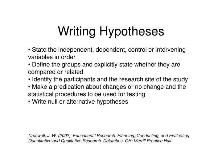 Writing Hypotheses