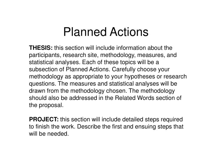 Planned Actions