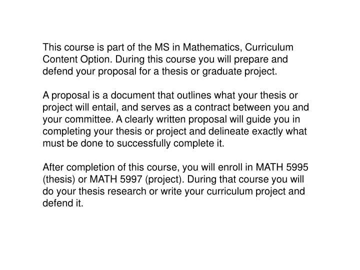 This course is part of the MS in Mathematics, Curriculum Content Option. During this course you will...