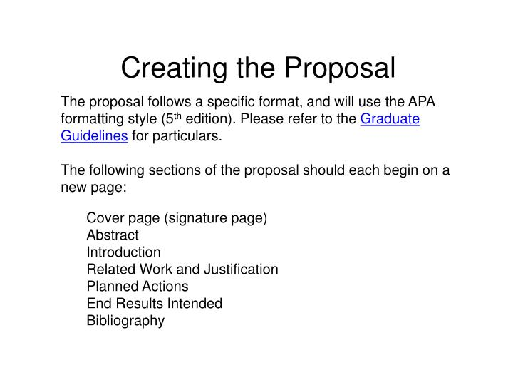 Creating the Proposal