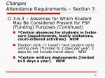 changes attendance requirements section 3