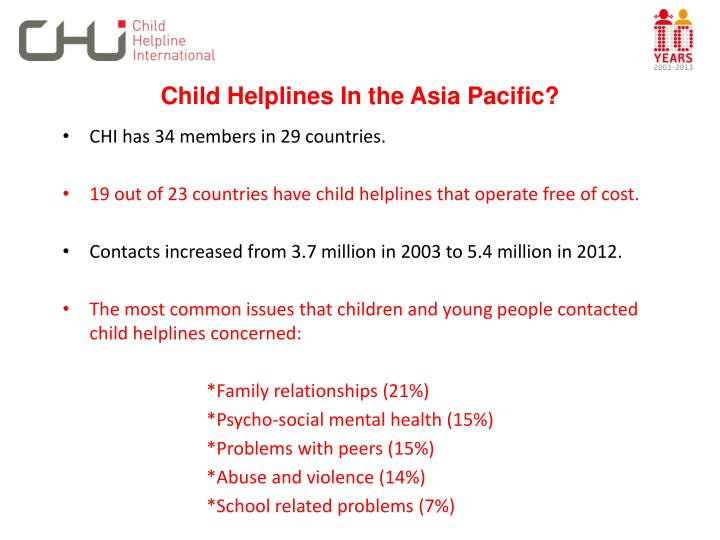 Child helplines in the asia pacific