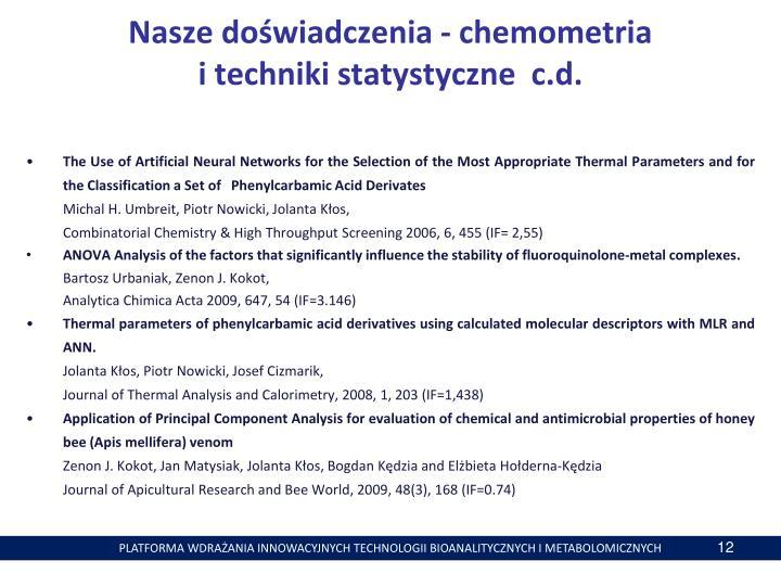 Nasze doświadczenia - chemometria