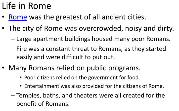 Life in Rome