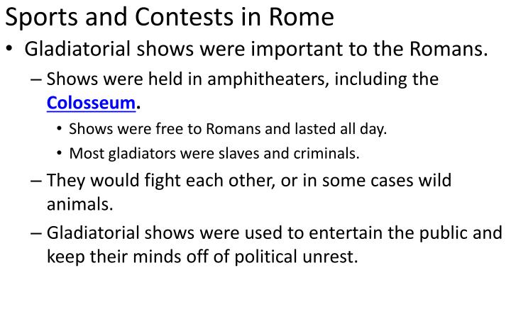 Sports and Contests in Rome