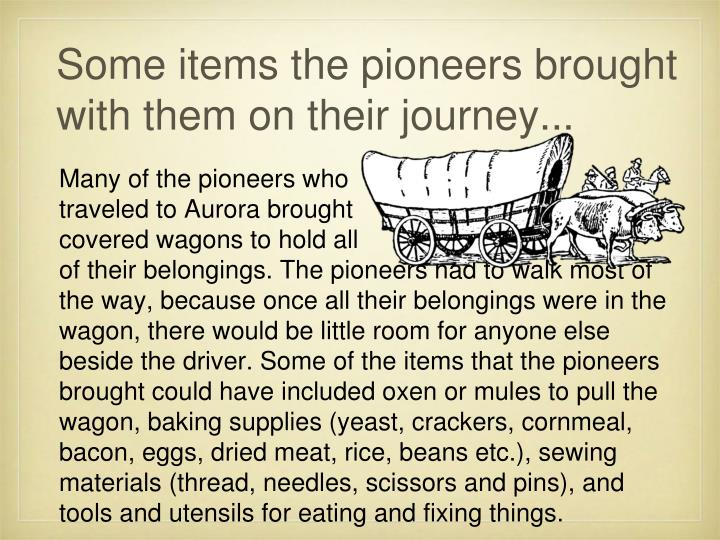 Some items the pioneers brought with them on their journey...