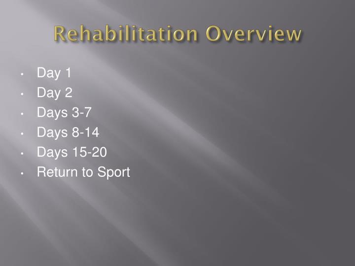 Rehabilitation Overview