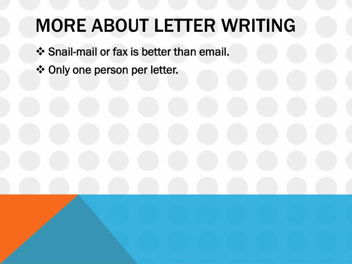 More about letter writing