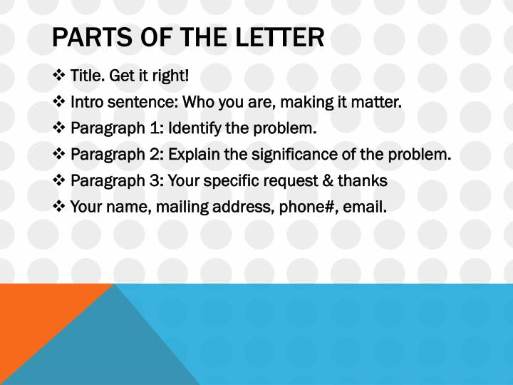 Parts of the letter