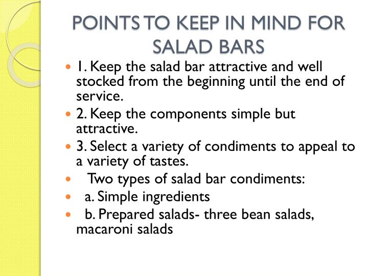 POINTS TO KEEP IN MIND FOR SALAD BARS