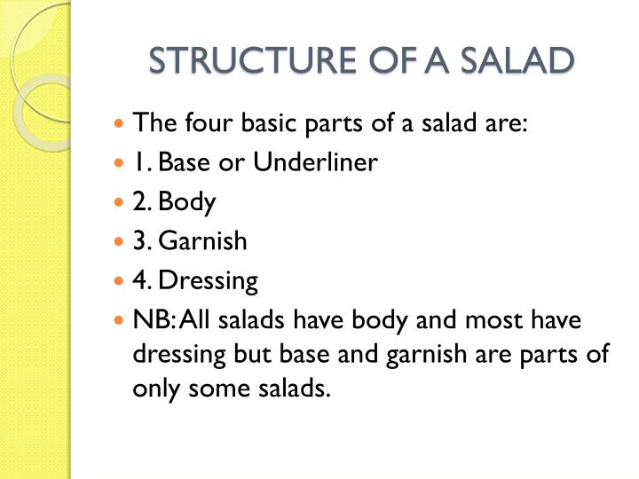 STRUCTURE OF A SALAD
