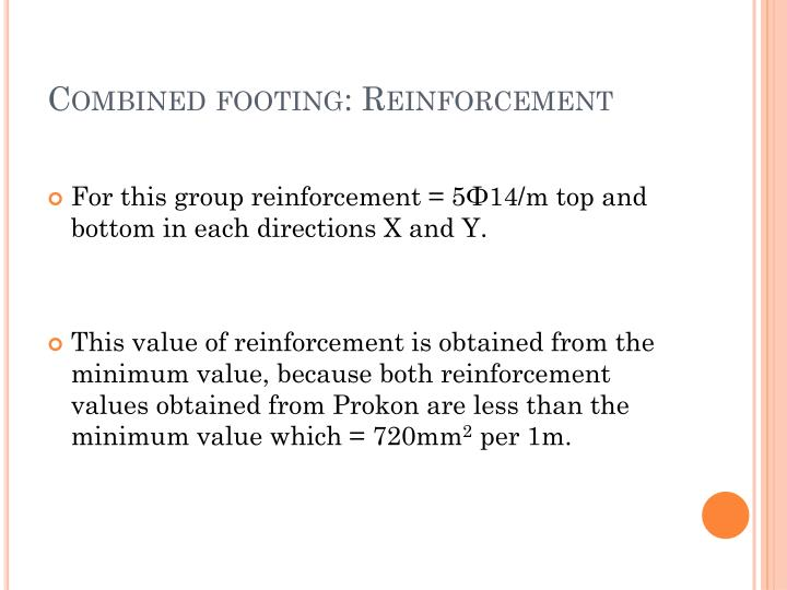 Combined footing: Reinforcement