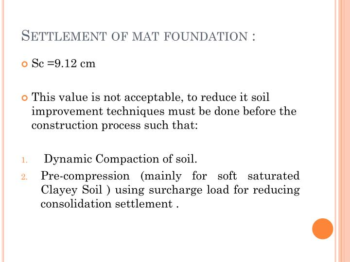 Settlement of mat foundation :