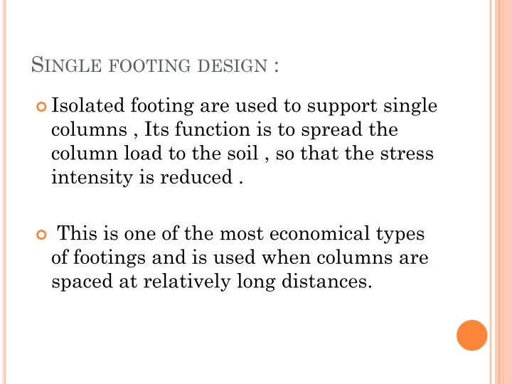 Single footing design :