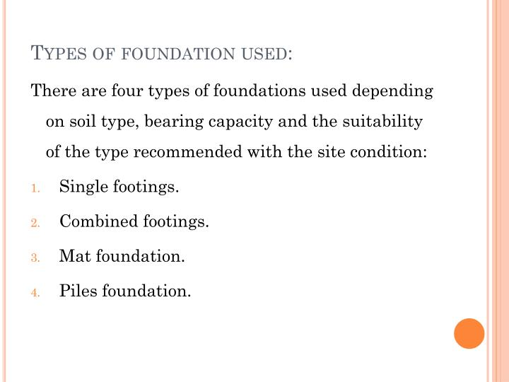 Types of foundation used:
