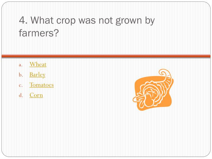 4. What crop was not grown by farmers?