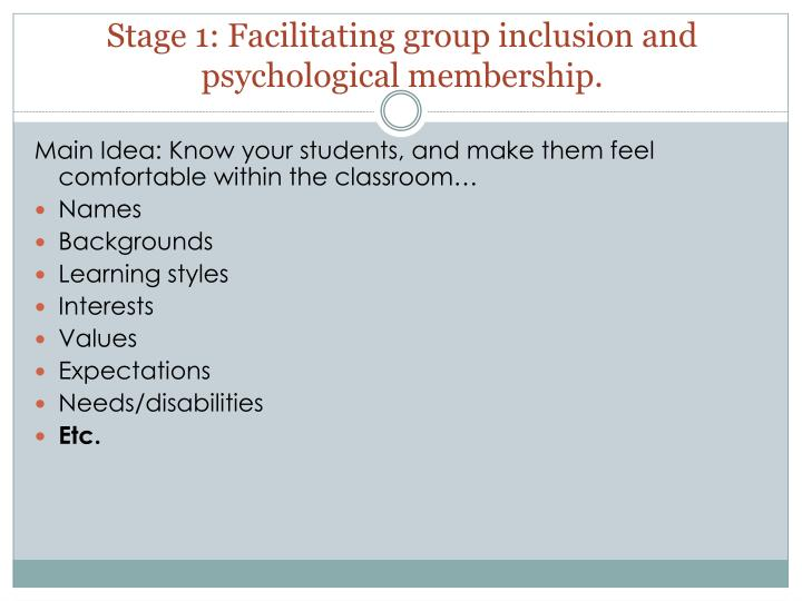 Stage 1: Facilitating group inclusion and psychological membership.
