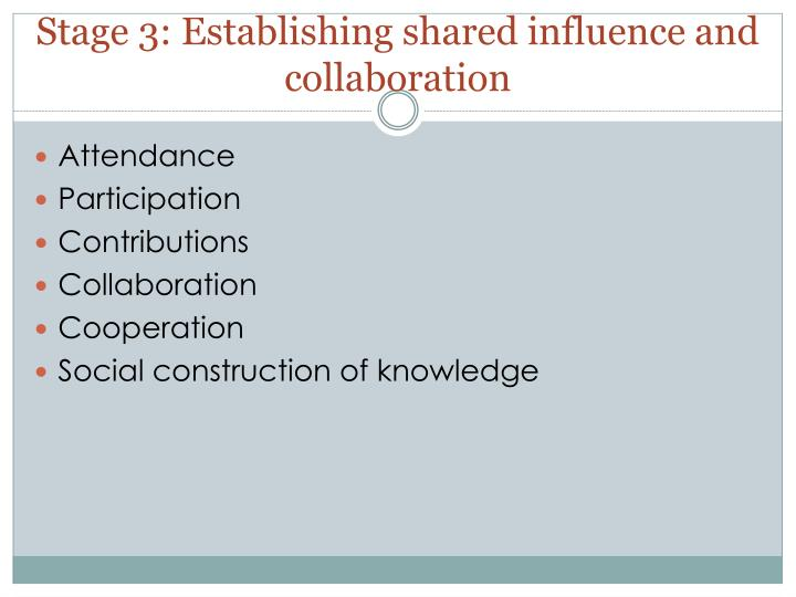 Stage 3: Establishing shared influence and collaboration