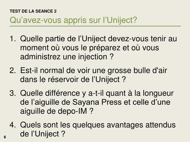 TEST DE LA SEANCE 2