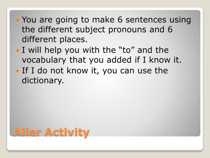 You are going to make 6 sentences using the different subject pronouns and 6 different places.