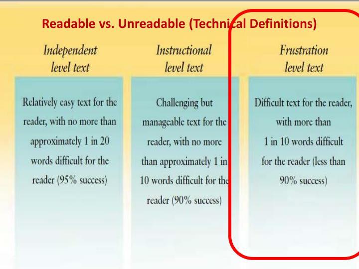Readable vs. Unreadable (Technical Definitions)