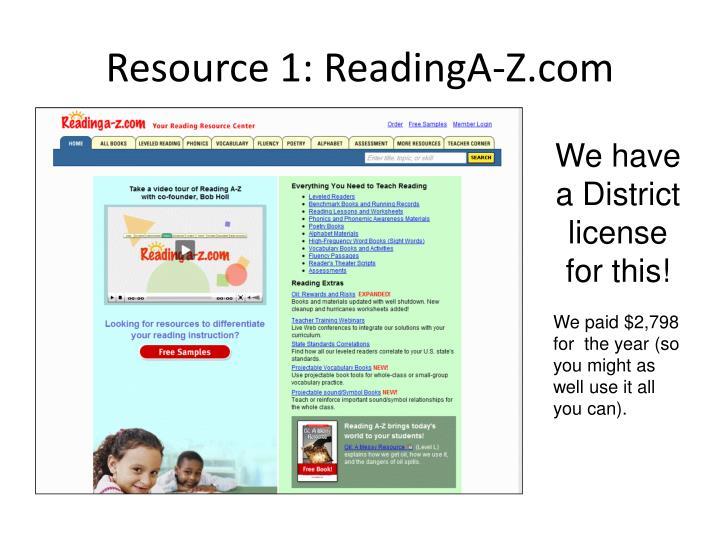 Resource 1: ReadingA-Z.com
