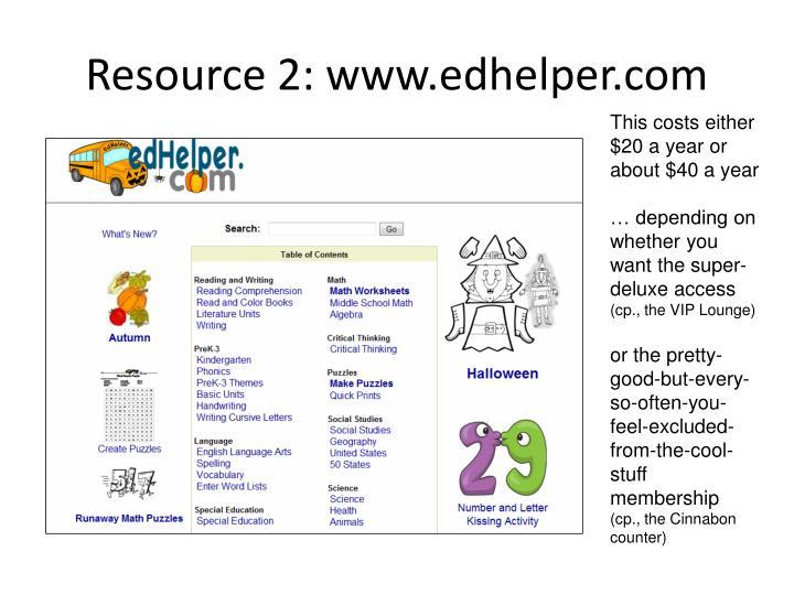 Resource 2: www.edhelper.com