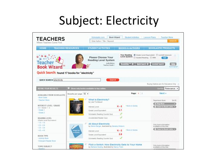 Subject: Electricity