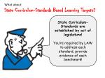 what about state curriculum standards based learning targets