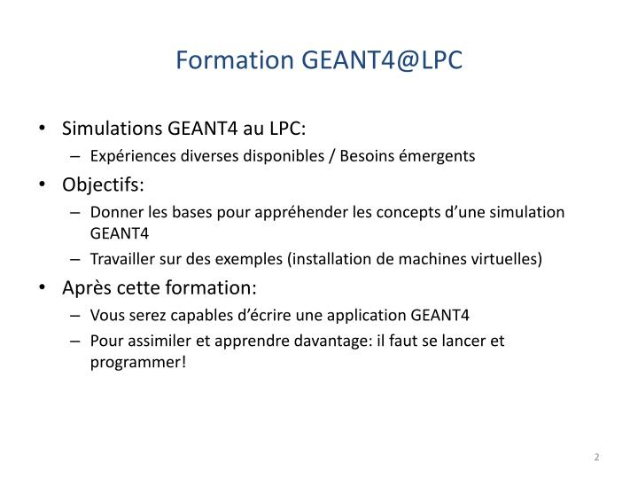 Formation GEANT4@LPC
