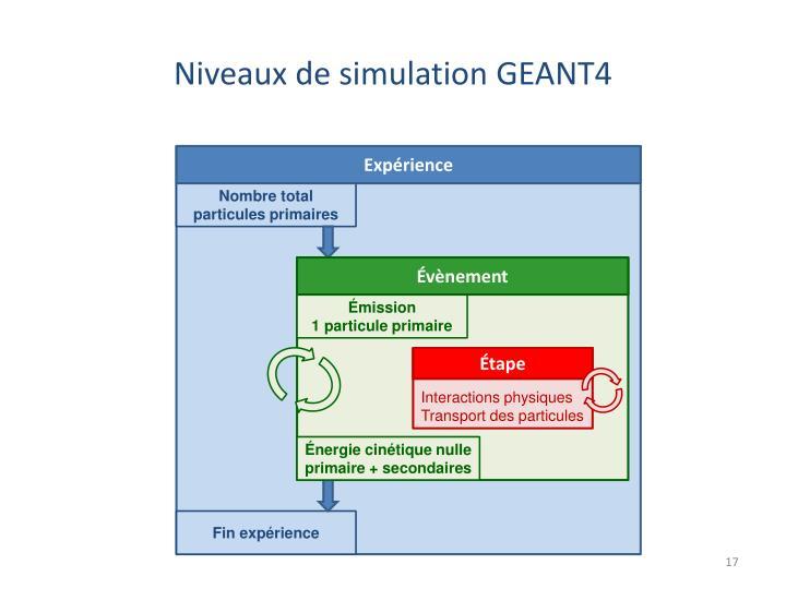 Niveaux de simulation GEANT4