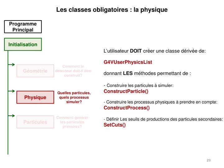 Les classes obligatoires : la physique