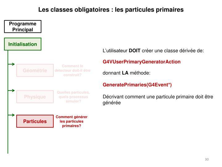Les classes obligatoires : les particules primaires