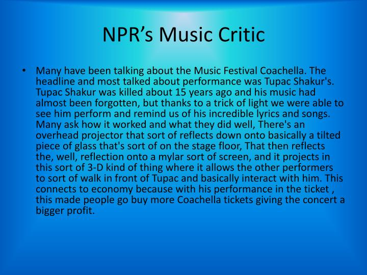NPR's Music Critic
