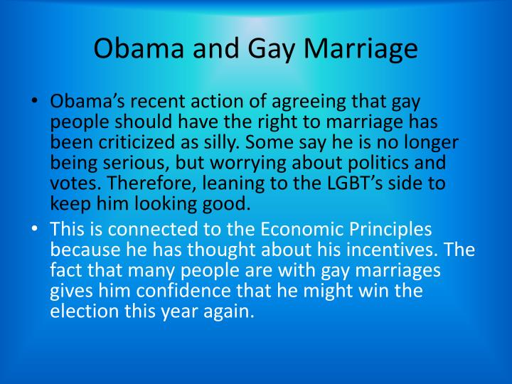 Obama and Gay Marriage