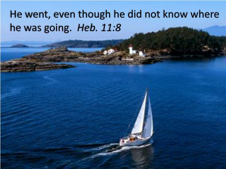 He went even though he did not know where he was going heb 11 8