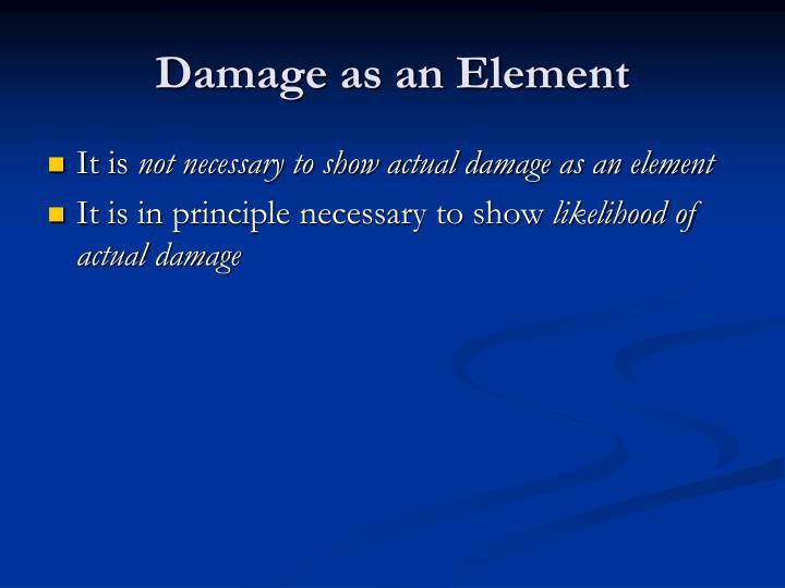 Damage as an Element