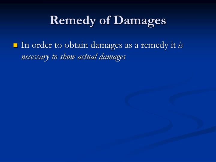 Remedy of Damages