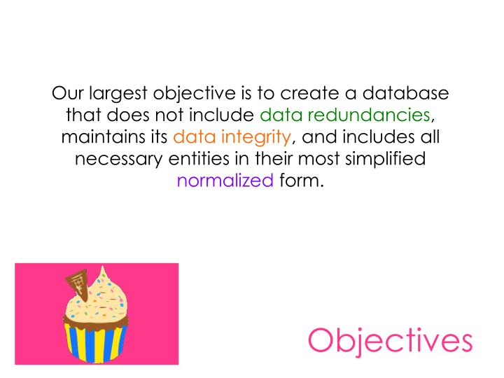 Our largest objective is to create a database that does not include