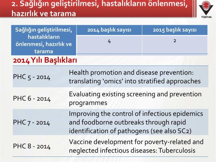 2. Sağlığın geliştirilmesi, hastalıkların önlenmesi, hazırlık ve tarama