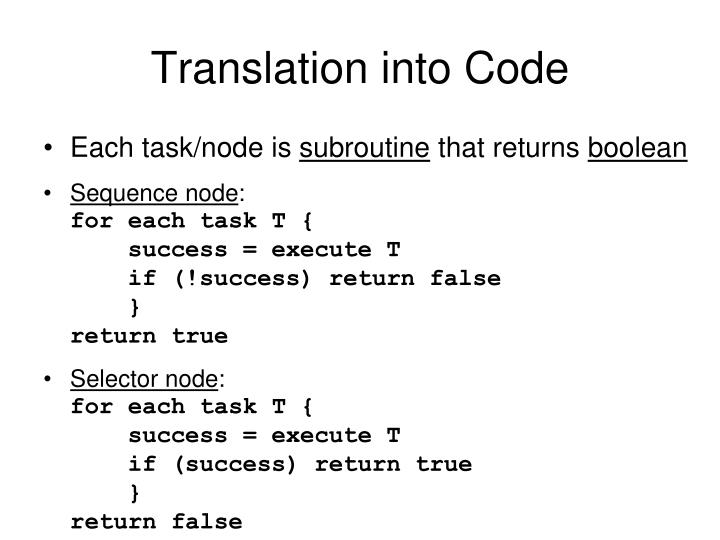 Translation into Code