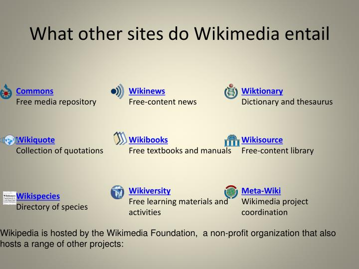 What other sites do Wikimedia entail