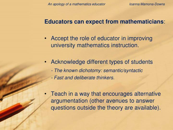 An apology of a mathematics educator