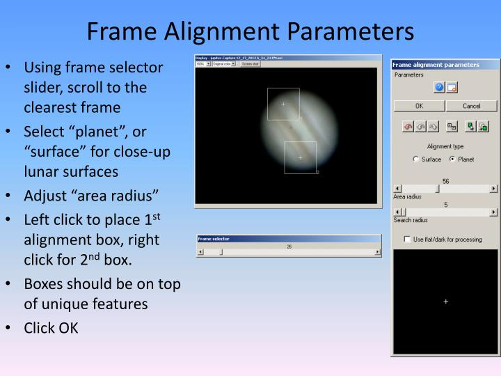 Frame Alignment Parameters