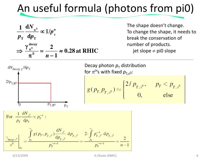 An useful formula (photons from pi0)
