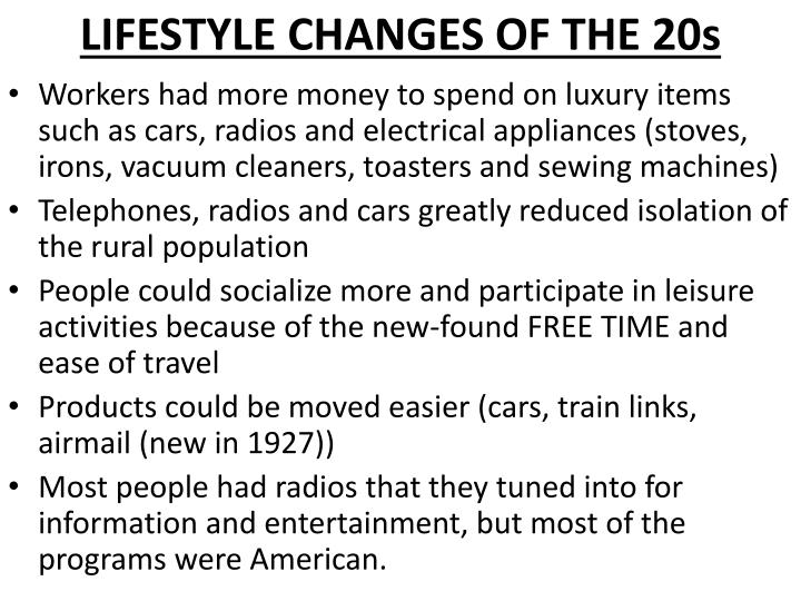 LIFESTYLE CHANGES OF THE 20s