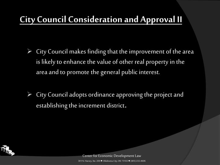City Council Consideration and Approval II
