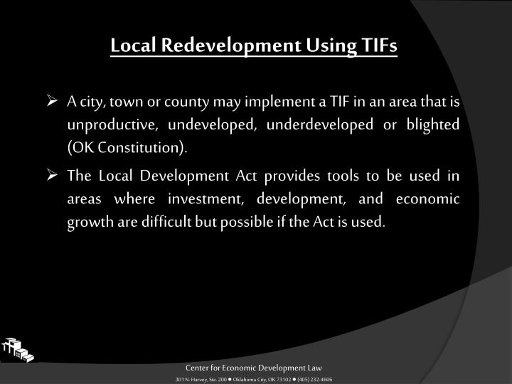 Local Redevelopment Using TIFs