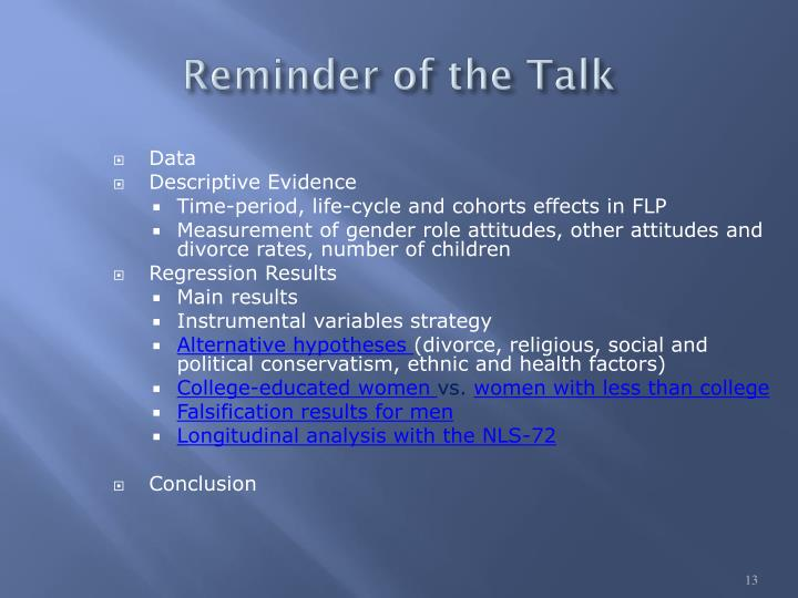 Reminder of the Talk